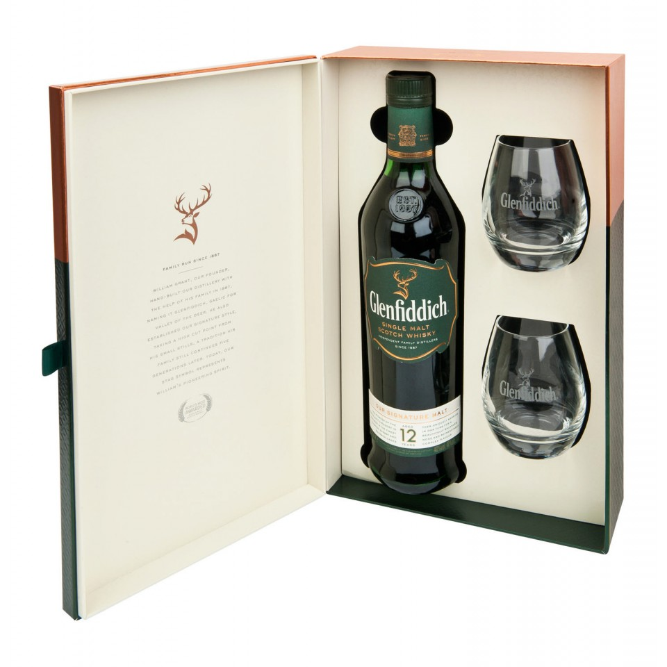 "Уиски ""Glenfiddich Single Malt "" 12 год. + 2 Чаши"