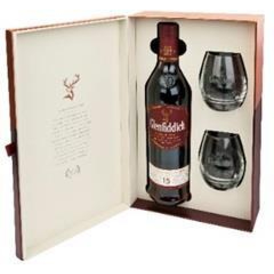 "Уиски ""Glenfiddich Single Malt "" 15 год. + 2 Чаши"