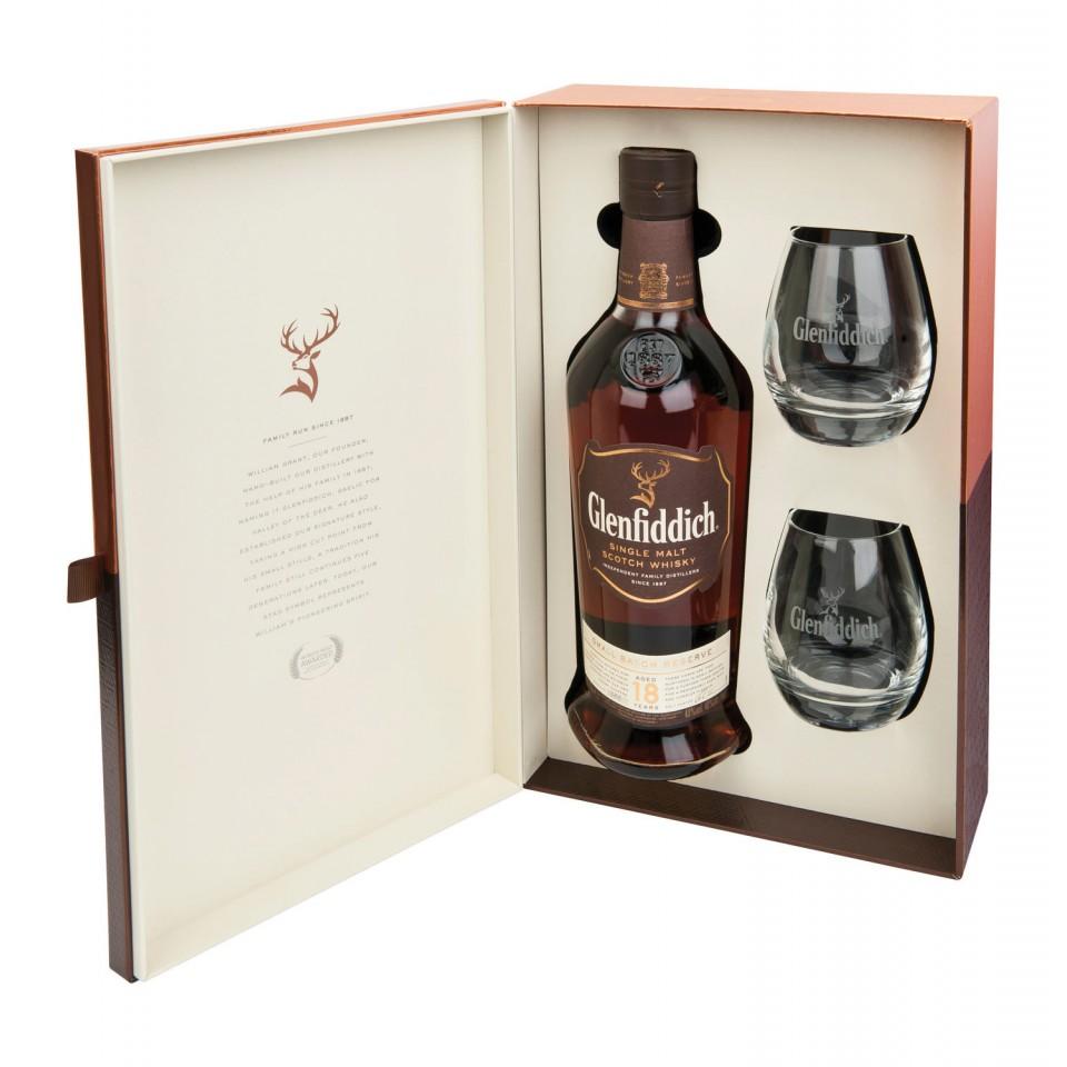 "Уиски ""Glenfiddich Single Malt "" 18 год. + 2 Чаши"