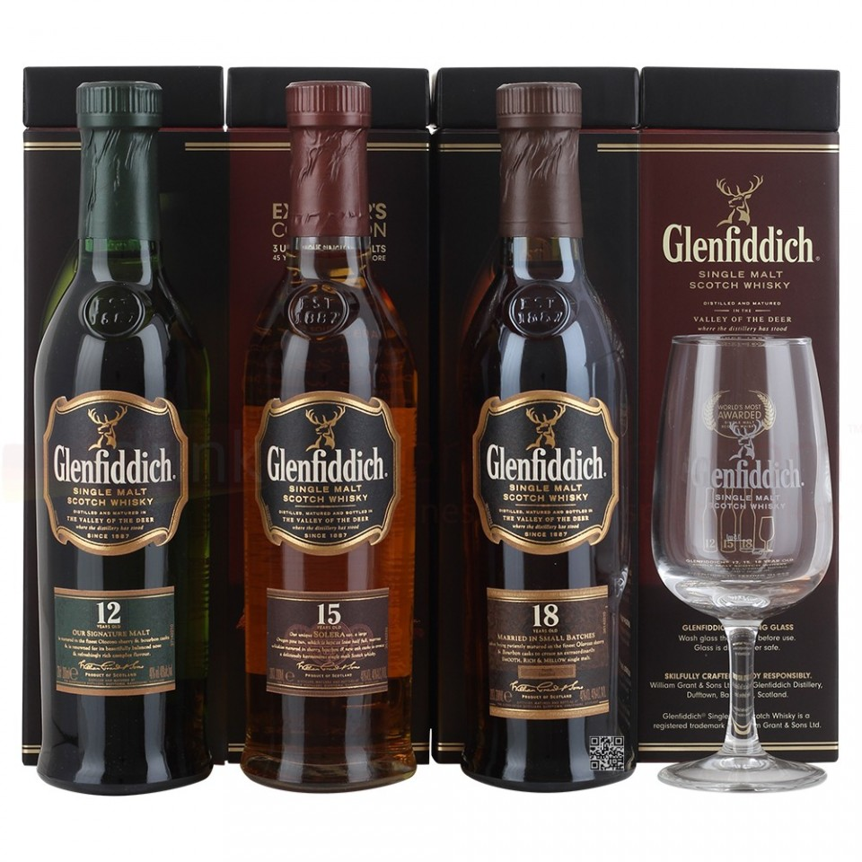 "Уиски ""Glenfiddich Explorer's Collection"" 3 х 0.200"